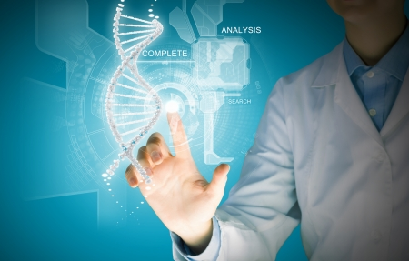 dna laboratory: Woman scientist touching DNA molecule image at media screen