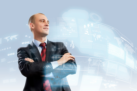Image of confident businessman smiling standing against hightech background photo