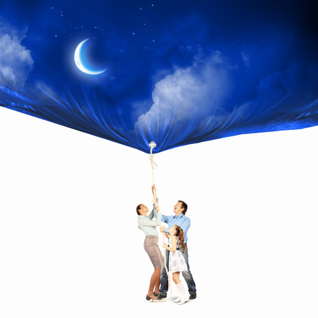 Image of young happy family pulling banner with night illustration Stock Illustration - 23781676