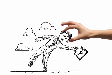 Hand drawing image of businessman  Business challenge photo