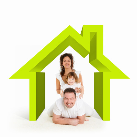 Happy young family in house  Mortgage concept photo
