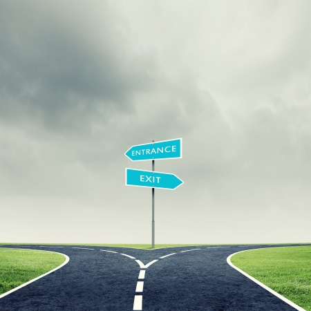 difficult journey: Cross road with direction sign  Choose your way Stock Photo