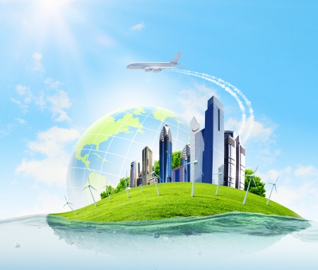 City on island floating in water  Global warming photo