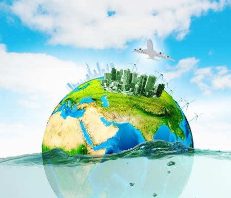 water power: City on island floating in water  Global warming  Elements of this image are furnished by NASA Stock Photo