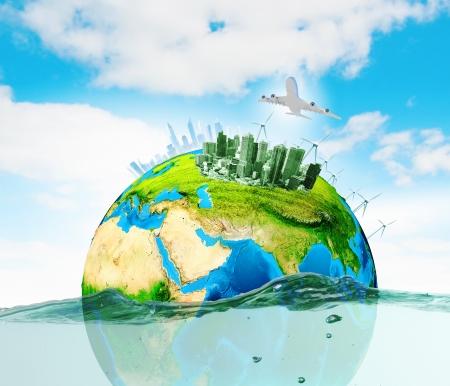 calentamiento global: Ciudad en la isla que flota en el agua del planeta Calentamiento elementos de esta imagen proporcionada por la NASA est�n