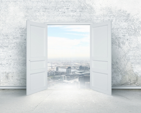 Conceptual image of white opened door  Perspective Stock Photo