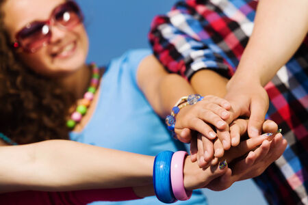 sociable: Group of young happy people  Unity concept Stock Photo