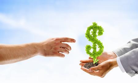 Afbeelding van menselijke handen bedrijf plant de vorm van dollar Stockfoto