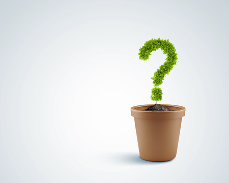 Image of plant pot with green question mark