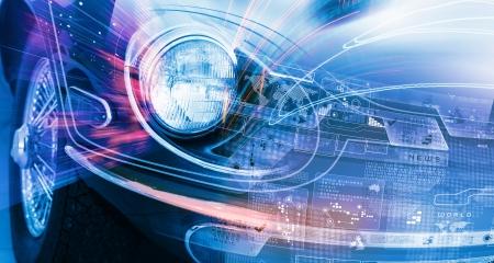 자동차 헤드 라이트의 혁신 개념의 이미지를 닫습니다