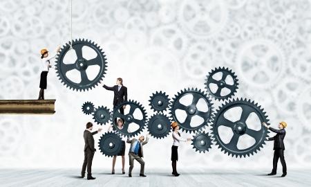 사업가는 응집력 상호 작용과 단결을 작업의 개념적 이미지 스톡 콘텐츠