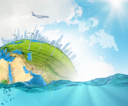 ecological disaster: City on island floating in water  Global warming