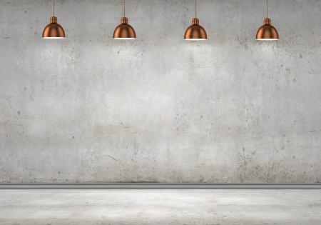 Sitio vacío con la pared en blanco y lámparas de techo Foto de archivo