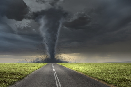 hail: Image of powerful huge tornado twisting on road Stock Photo
