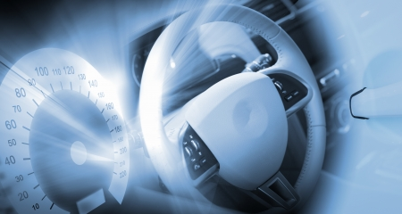 Digital image of car steering wheel with icons Stock Photo