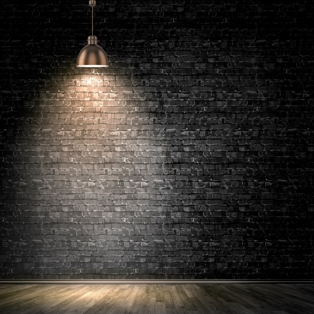 stage background: Background image of dark wall with lamp above