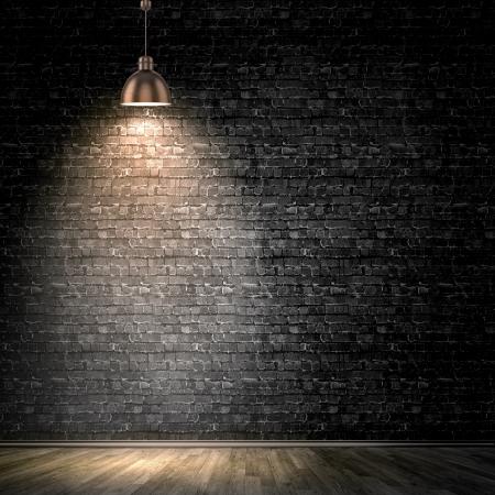 L'image de fond de mur noir avec lampe au-dessus Banque d'images