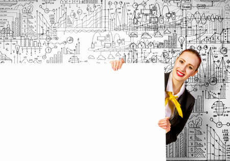 Young businesswoman holding white blank banner  Place for text photo