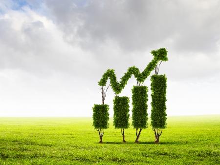 グラフのような形をした緑の植物のイメージ
