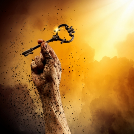 Key in human hand  Struggle and success