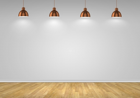 Blank wall with place for text illuminated by lamps above photo