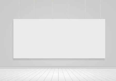 Blank banner hanging on wall  Place for text