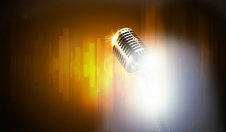 let s: Let s sing  Stylish retro microphone on a colored  Stock Photo