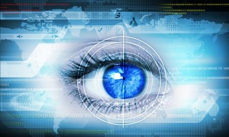 人間の目の技術コンセプトのクローズ アップのハイテク イメージ