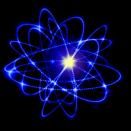 Image of color atoms and electrons  Physics concept