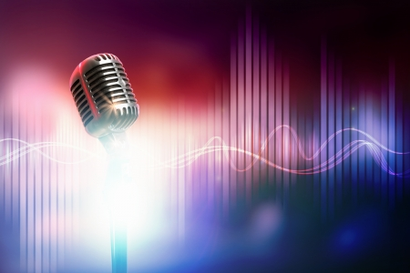 band music: Let s sing  Stylish retro microphone on a colored  Stock Photo