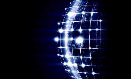 transnational: Blue vivid image of globe  Globalization concept  Elements of this image are furnished by NASA