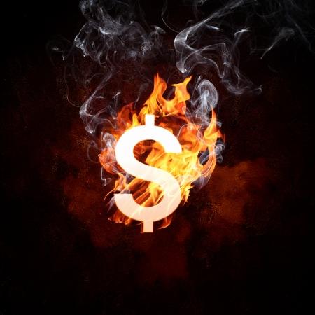 wasteful: Illustration of dollar burning symbol  Money concept