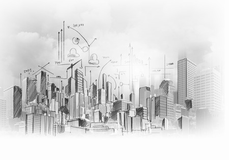 building sketch: Image with hand drawings of construction project Stock Photo