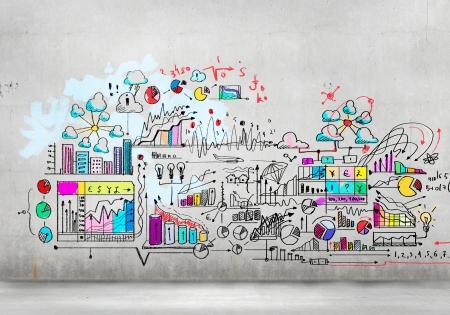 コラージュ手図面とビジネス プラン イメージ 写真素材