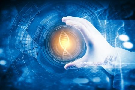 Close-up beeld van de menselijke hand houden reageerbuis concept van de wetenschap