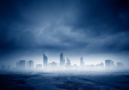 doom: Dark background image of modern city scene