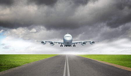 takeoff: Image of a white flying passenger plane