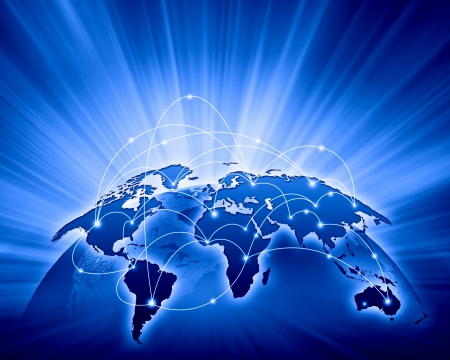 Blue vivid image of globe  Globalization concept Stock Photo - 24495037