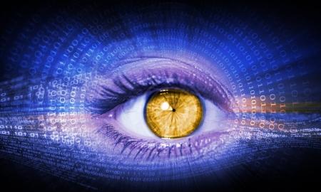 display retina: Close-up high-tech image of human eye  Technology concept