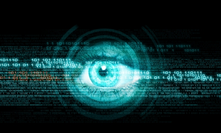 security: Digital image of woman s eye  Security concept Stock Photo
