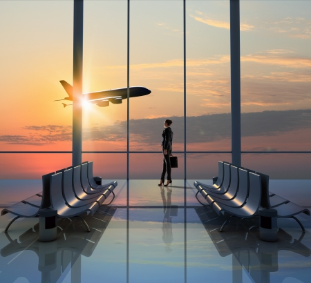 airplane take off: Image of woman in airport looking at taking off airplane