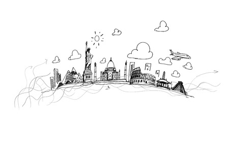 Background sketch image with drawings  Travel concept photo
