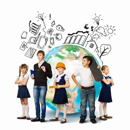 Group of pupils holding items  Education and travel concept Stock Photo - 24663777