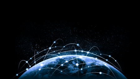 Blauw levendig beeld van globe Globalisering begrip Elementen van dit beeld zijn geleverd door NASA