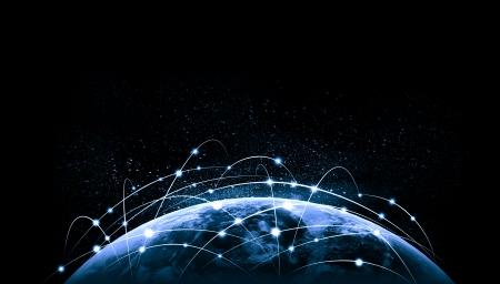 NASA によって供給されるグローブ グローバル コンセプトこの画像の要素のブルーの鮮やかな画像 写真素材