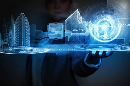 Media imago van de stad Businessperson houden in de palm Nieuwe technologieën Stockfoto