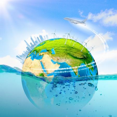 conservacion del agua: Ciudad en la isla que flota en el agua del planeta Calentamiento elementos de esta imagen proporcionada por la NASA est�n