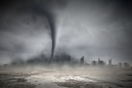 storm damage: Image of powerful huge tornado twisting above city