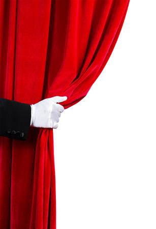 gant blanc: Gros plan sur la main en gant blanc ouvrir le rideau Place pour le texte