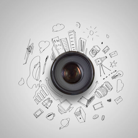 black and white photography: Camera lens against light background  Photography business